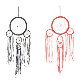 Home Decor - Set of 2 Dream Catcher Wall Hanging - Red and Black Colour