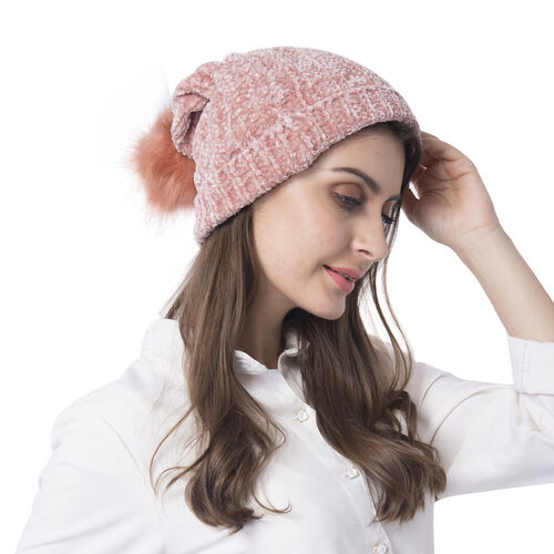 Super Soft Beanie Hat with Faux Fur Pom Pom (One size: 50x31cm) - Pink