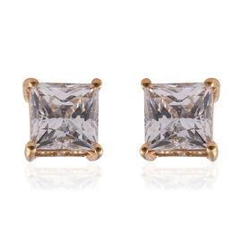 J Francis - 14K Gold Overlay Sterling Silver (Sqr) Stud Earrings (with Push Back) Made With SWAROVSKI ZIRCONIA