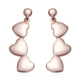 Rose Gold Overlay Sterling Silver Heart Earrings (with Push Back), Silver wt 6.06 Gms