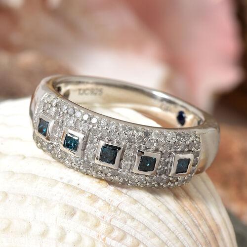 GP Blue Diamond (Sqr), White Diamond and Kanchanaburi Blue Sapphire Ring in Platinum Overlay Sterling Silver 0.520 Ct