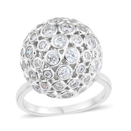 J Francis Made with SWAROVSKI ZIRCONIA Bazel Set Ball Ring in Platinum Plated Silver 8.58 Grams