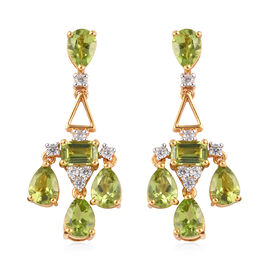 Hebei Peridot, Natural Cambodian Zircon Drop Earrings (with Push Back) in 14K Gold Overlay Sterling
