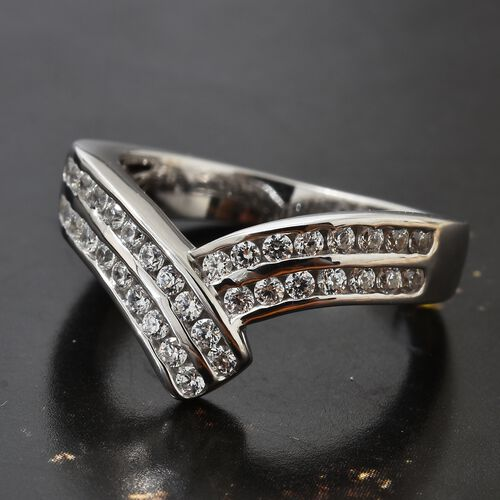 J Francis - Platinum Overlay Sterling Silver (Rnd) Bypass Ring Made with SWAROVSKI ZIRCONIA, Silver wt. 5.07 Gms