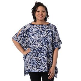 Leopard Print Blouse with Open Shoulder Design in Blue (Free Size/Length72 cm)