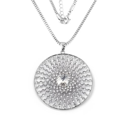 Austrian White Crystal (Rnd) and Simulated Diamond Circle Pendant with Chain (Size 30 with 2 Inch Extender) in Silver Plated