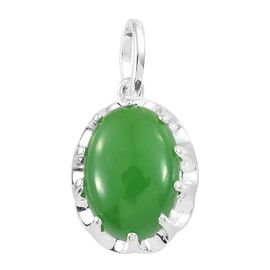 Green Jade (Ovl) Solitaire Pendant in Sterling Silver 7.000 Ct.