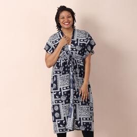 JOVIE Paisley Pattern Kimono Long Kaftan with Ruffles Sleeves (Size 80x93cm) - Navy and Multi