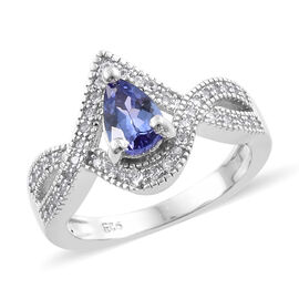 Tanzanite (Pear 7x5 mm, 0.58 Ct), Natural Cambodian Zircon Halo Crossover Ring in Platinum Overlay S
