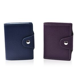 Set of 2 - Leather Credit Card Holder (Size 10x8 Cm) - Blue and Purple