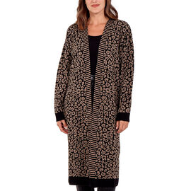 Nova of London - 100% Acrylic Leopard Print Long Cardigan - Black