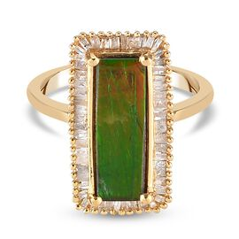 AA Canadian Ammolite and Diamond Ring in 14K Gold Overlay Sterling Silver 2.56 Ct.