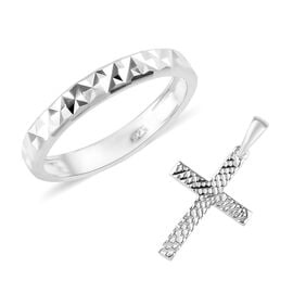 2 Piece Set - Sterling Silver Band Ring and Cross Pendant