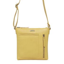 Assots London EDITH 100% Genuine Leather Pebble Grain Crossbody Bag - Mustard
