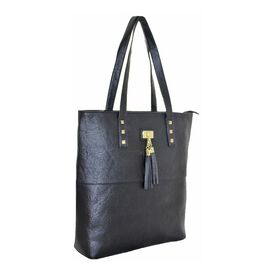 New Season: Tote Bag with Stud & Tassel Detail (39 x 36 x 12) - Black
