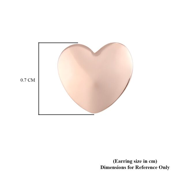 Rose Gold Overlay Sterling Silver Heart Stud Earrings (with Push Back)