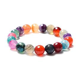 Multi Agate Beaded Stretchable Bracelet (Size 6.5) 131.50 Ct.