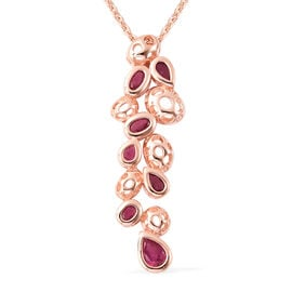 RACHEL GALLEY Misto Collection - African Ruby Pendant With Chain (Size 20) in Rose Gold Overlay Ster
