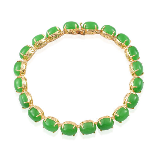 Green Jade (Ovl) Dragon Bracelet (Size 7.5) in Yellow Gold Overlay Sterling Silver 50.250 Ct. Silver wt 12.50 Gms.