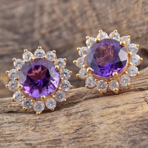 Lusaka Amethyst (Rnd), Natural Cambodian Zircon Stud Earrings (with Push Back) in 14K Gold Overlay Sterling Silver 10.250 Ct.