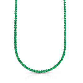 One Time Mega Deal- Simulated Emerald (Rnd 4mm, 25 Ct Equivalent) Tennis Necklace (Size 19) in Silve