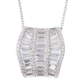 Simulated Diamond Wave Design Pendant With Chain in Stainless Steel