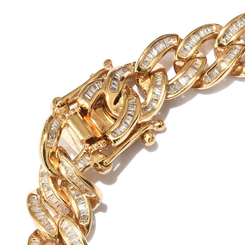 Super Auction-Diamond (Rnd) Curb Bracelet (Size 8.5) in Yellow Gold Overlay Sterling Silver 3.000 Ct, Silver wt 20.37 Gms
