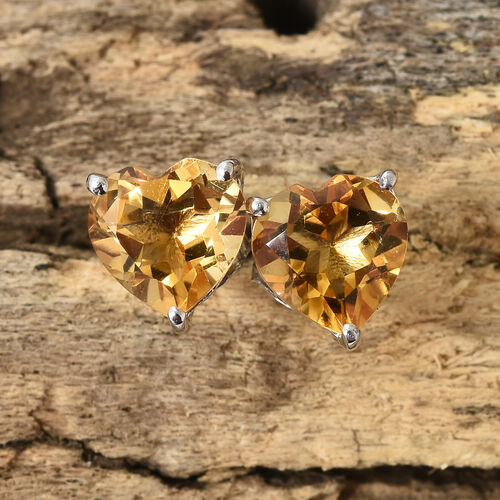 Citrine (Hrt) Stud Earrings (with Push Back) in Platinum Overlay Sterling Silver 2.250 CT