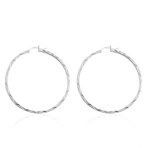 Designer Inspired - Sterling Silver Diamond Cut Hoop Earrings (with Clasp), Silver wt 4.40 Gms.