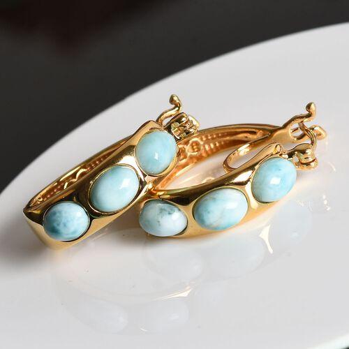 5.75 Ct Larimar Hoop Earrings in Gold Plated Sterling Silver