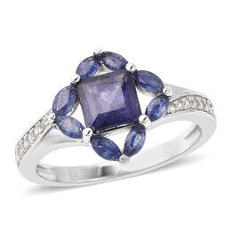 Isabella Liu Floral Collection - Masoala Sapphire and Natural Cambodian Zircon Ring in Rhodium Overl