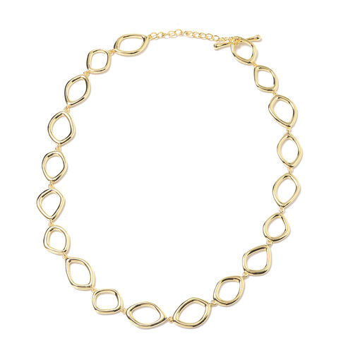LucyQ Fluid Design Collar Necklace in Yellow Gold Plated Sterling Silver 49.55 Grams 20 Inch