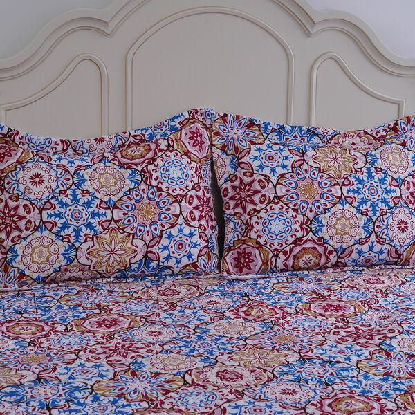 3 Pieces Set Pigment Pattern Quilt (240x260Cm) with 2 Pillow Cases (2x50x70Cm+5Cm) - Red and Purple
