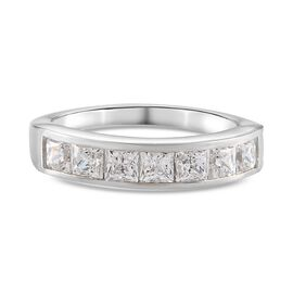 J Francis Platinum Overlay Sterling Silver Ring Made with SWAROVSKI ZIRCONIA 2.01 Ct.