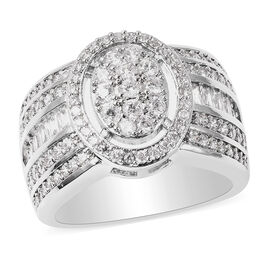 Simulated Diamond Ring in Silver Tone