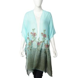 Designer Inspired- Floral Pattern Embroidery Kimono (Size 90x90 Cm) - Sea Blue and Green Colour
