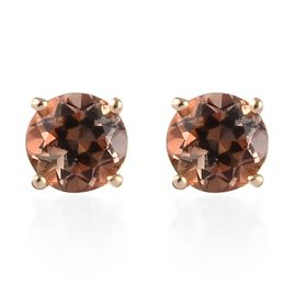 9K Yellow Gold AA Brazilian Andalusite Stud Earrings (with Push Back) 0.55 Ct.