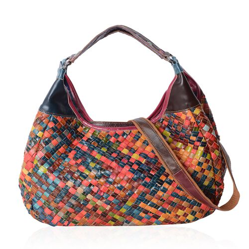 Morocco Collection Hand Woven 100% Genuine Leather Large Tote Bag with Removable Shoulder Strap (Size 37x21x12 Cm)