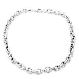 Rope Link Belcher Necklace in Sterling Silver 53 Grams 24 Inch