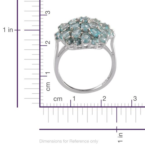 Paraibe Apatite (Ovl) Cluster Ring in Platinum Overlay Sterling Silver 4.250 Ct.