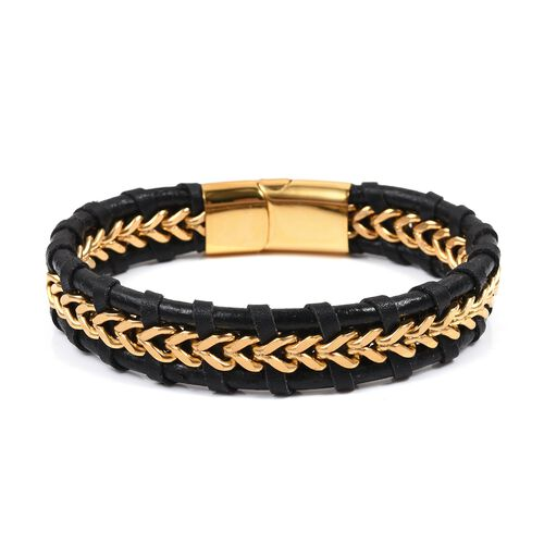 Designer Inspired- Black Genuine Leather Bracelet (Size 8.5) in Yellow Plated Stainless Steel