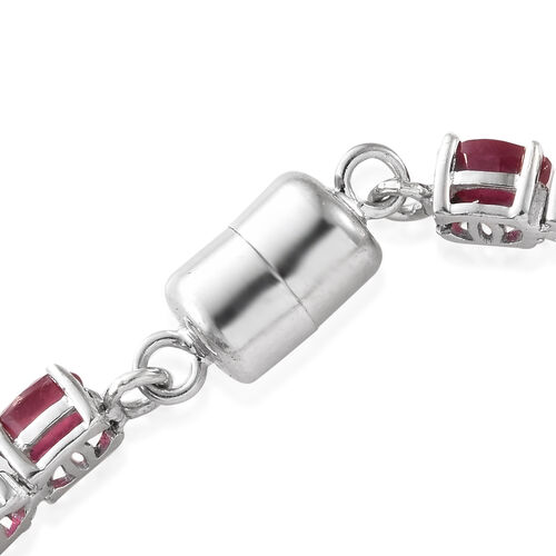 Signature Collection-AAA African Ruby (Ovl),Natural Cambodian Zircon Bracelet (Size 7.5) in Platinum Overlay Sterling Silver with Magnetic Clasp 20.500 Ct.