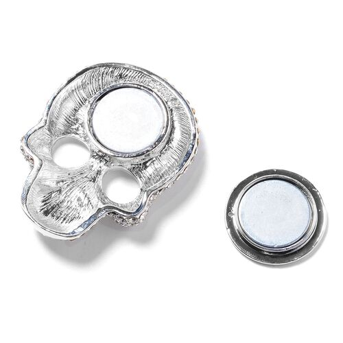 Austrian White Austrian Crystal Skull Brooch with Magnet in Silver Plated