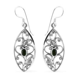 Royal Bali Collection Russian Diopside (Ovl) Hook Earrings in Sterling Silver 1.020 Ct, Silver wt 5.