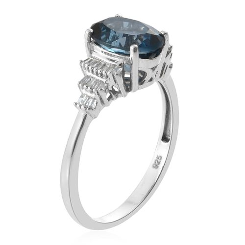 London Blue Topaz (Ovl 2.85 Ct), Diamond Ring in Platinum Overlay Sterling Silver 3.000 Ct.