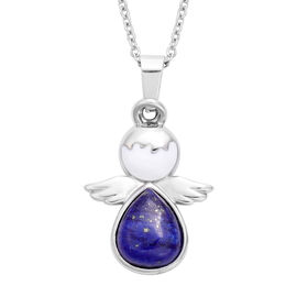 Lapis Lazuli Little Angel Enamelled Pendant with Chain (Size 20) in Stainless Steel 3.50 Ct.