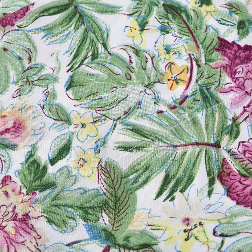 4 Piece Set : Tropical Floral Printed Microfibre Sheet Set including Flat Sheet (230x265cm), Fitted Sheet (140x190+30cm) and Pillow Cases (2Pcs - 50x75cm) - (Size Double) - Green and Multi