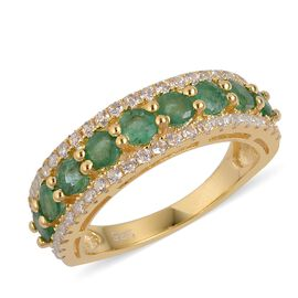 Kagem Zambian Emerald (Rnd), Natural White Cambodian Zircon Ring in Yellow Gold Overlay Sterling Silver 2.500 Ct.