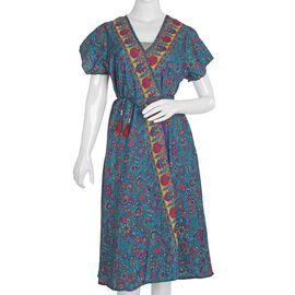 Screen Printed Teal Colour Wrap Dress (Size M/L)