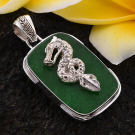 Royal Bali Collection - Crafted Green Jade Dragon Pendant in Sterling Silver 32.00 Ct.